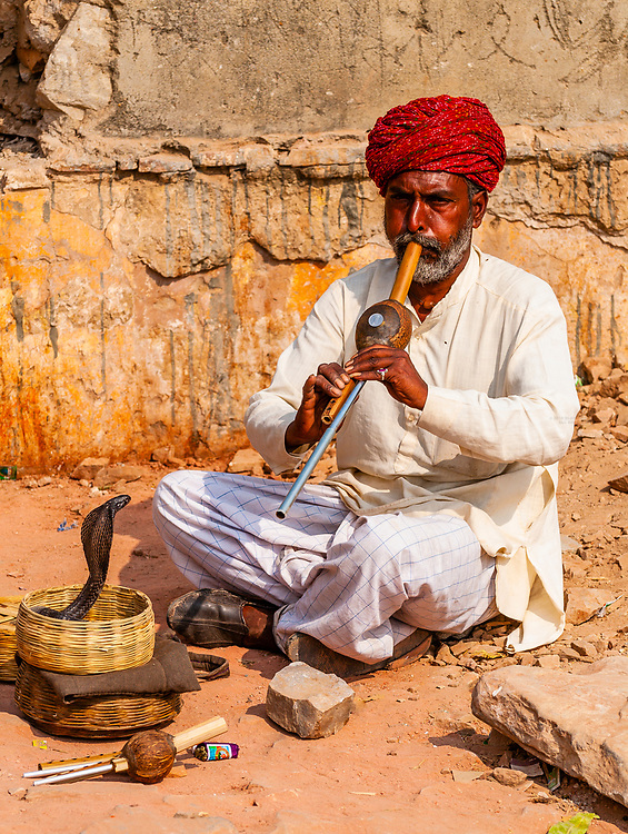 Snakecharmer with cobra, Amber Fort, Amber (near Jaipur), Rajasthan, India