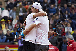 April 7, 2018 - Valencia, Valencia, Spain - Tim Putz (L) and Jan-Lennard Struff of Germany celebrate the victory in their doubles match against Feliciano Lopez and Marc Lopez of Spain during day two of the Davis Cup World Group Quarter Finals match between Spain and Germany at Plaza de Toros de Valencia on April 7, 2018 in Valencia, Spain  (Credit Image: © David Aliaga/NurPhoto via ZUMA Press)