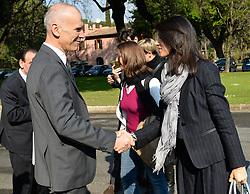 April 5, 2017 - Rome, Italy - Stefano Bina DG Ama, and Virginia Raggi during presentation Plan for the post-Consumables materials Rome on april 05, 2017. (Credit Image: © Silvia Lore/NurPhoto via ZUMA Press)
