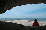Sea kayaks in and along Lake Superior, Pictured Rocks National Lakeshoe, Michigan, US
