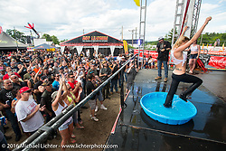 Kristi Verhoff in the wet T-shirt competition on the Roadhouse main stage during Laconia Motorcycle Week 2016. NH, USA. Friday, June 17, 2016.  Photography ©2016 Michael Lichter.