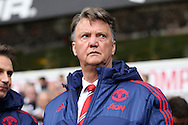 Louis van Gaal, the Manchester United Manager looks on from the dugout before k/o.Barclays Premier league match, Tottenham Hotspur v Manchester Utd at White Hart Lane in London on Sunday 10th April 2016.<br /> pic by John Patrick Fletcher, Andrew Orchard sports photography.