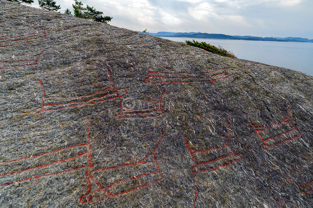Rock carvings of ships and other objects at Solbakk (Strand, Rogaland, Norway) dating back to the Nordic bronze age (1700-500 BC).