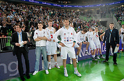 Jaka Daneu, Jaka Klobucar, Davis Bertans of Union Olimpija,  Goran Jagodnik of Union Olimpija, Vladimir Boisa of Union Olimpija, Jan Span of Union Olimpija, Sasu Salin of Union Olimpija, Dino Muric and Miro Alilovic disappointed after the final match of Basketball NLB League at Final four tournament between KK Union Olimpija (SLO) and Partizan Belgrade (SRB), on April 21, 2011 in Arena Stozice, Ljubljana, Slovenia. Partizan defeated Union Olimpija 77-74 and became NLB league Champion 2011.  (Photo By Vid Ponikvar / Sportida.com)