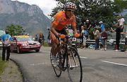 FRANCE SUNDAY 22ND JULY: Tour de France Stage 14 Mazamet - Plateau-de-Beille, 197km. Amets Txurruka (Euskaltel-Euskadi) and Iván Gutiérrez (Caisse d'Epargne) (hidden) race up Plateau de Beille.