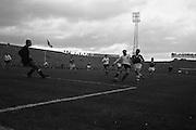 13/10/1963<br /> 10/13/1963<br /> Ireland v Austria, European Championship match at Dalymount Park, Dublin. Ireland won the game 3-2. Austrian centre-half Johann Frank clears under pressure from Ambrose Fogarty (Ireland).