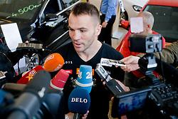 Slovenian Boxer Dejan Zavec alias Jan Zaveck alias Mr. Simpatikus at official weighing before defending the title of IBF World Champion, on April 8, 2010, in Avto Delta, Ljubljana, Slovenia.  (Photo by Vid Ponikvar / Sportida)