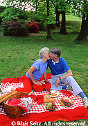 Active Aging Senior Citizens, Retired, Activities, Elderly Couple Picnics in Park