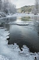 Ice along the Birkenhead river near Pemberton, Coast Mountains British Columbia