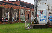 Behind abandoned shops, restaurants and workshops on 5th March 2020 in downtown Dothan, The Peanut Capital of the World, Alabama, United States of America.