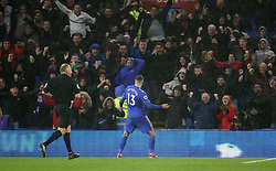 Cardiff City's Callum Paterson celebrates scoring his side's first goal of the game during the Premier League match at the Cardiff City Stadium, Cardiff.