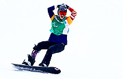 Brenna Huckaby of USA celebrates winning the Gold medal in the Women's Snowboard Cross SB-LL1 during day three of the PyeongChang 2018 Paralympic Games on March 12, 2018 in Pyeongchang-gun, South Korea.