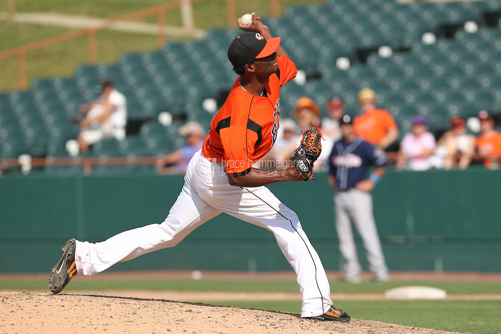 Bowie Baysox pitcher Pedro Viola #38 delivers a pitch during a game against the New Hampshire Fisher Cats at Prince George's Stadium on June 17, 2012 in Bowie, Maryland. New Hampshire defeated Bowie 4-3 in 13 innings. (Brace Hemmelgarn)