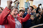 27 NOVEMBER 2008 -- PHOENIX, AZ: Arizona Governor Janet Napolitano reacts to a winning a free turkey (which she donated back to the boot sponsor) at a Thanksgiving breakfast at a McDonald's restaurant in Phoenix, AZ. Napolitano, an early supporter of then Illinois Senator now President Elect Barack Obama, has been widely rumored to be Obama's choice for Secretary of the United States Department of Homeland Security. Napolitano, a Democrat, was the US Attorney for Arizona during the Clinton Administration, elected to Arizona Attorney General and, in 2002, elected Governor of Arizona. She was reelected in 2006. She has been a strong supporter of increased border enforcement.  Photo by Jack Kurtz / ZUMA Press