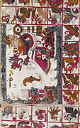 Aztec Codex Aubin (bought in 1841 by French scholar Aubin) Folio 16. Manuscript on agave paper.