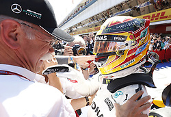 May 14, 2017 - Barcelona, Spain - Motorsports: FIA Formula One World Championship 2017, Grand Prix of Spain, .Dr. Dieter Zetsche (Chairman of the Board of Management of Daimler AG, Head of Mercedes-Benz Cars), #44 Lewis Hamilton (GBR, Mercedes AMG Petronas F1 Team) (Credit Image: © Hoch Zwei via ZUMA Wire)