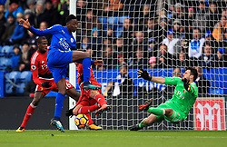 Leicester City's Wilfred Ndidi has a shot at goal from close range during the Premier League match at the King Power Stadium, Leicester.