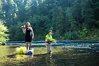 Melinda and Travis Woodward, owners of the Steamboat Inn on the North Umpqua River. Cascade Mountains, Oregon.