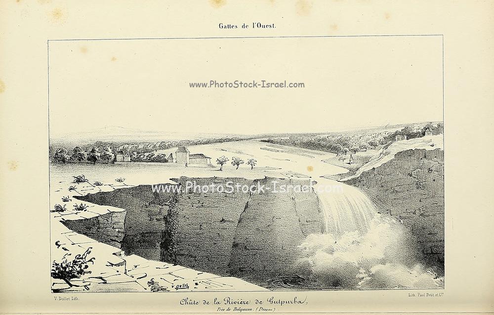 Falls in Satpura (Gokak Falls) from Souvenirs d'un voyage dans l'Inde exécuté de 1834 à 1839 (A voyage to India) by Delessert, Adolphe, published in Paris in 1843