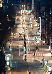 Night view of  quiet Princes Street in Edinburgh during Covid-19 lockdown, Scotland UK
