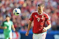 2016.06.22 Lyon<br /> Pilka nozna Euro 2016<br /> mecz grupy F Wegry - Portugalia<br /> N/z Adam Szalai<br /> Foto Norbert Barczyk / PressFocus<br /> <br /> 2016.06.22 Lyon<br /> Football UEFA Euro 2016 group F game between Hungary and Portugal<br /> Adam Szalai<br /> Credit: Norbert Barczyk / PressFocus