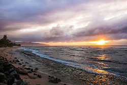 Laniakea Beach Sunset on the north shore of Oahu, Hawaii.