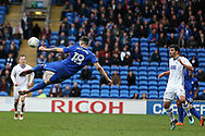 Callum Paterson of Cardiff City attempts an overhead kick at goal.  EFL Skybet championship match, Cardiff city v Birmingham City at the Cardiff city stadium in Cardiff, South Wales on Saturday 10th March 2018.<br /> pic by Andrew Orchard, Andrew Orchard sports photography.