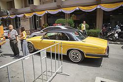 The ubiquitous yellow even on his car, Coronation of the King of Thailand, Rama X, His Majesty King Maha Vajiralongkorn Bodindradebayavarangkun, Bangkok, Thailand, on May 04, 2019. Photo by Loic Baratoux /ABACAPRESS.COM