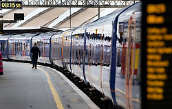 © Licensed to London News Pictures. 07/09/2020. London, UK. A passenger walks along a platform at Waterloo Station. Train capacity is supposed to reach 90% today as holidays come to an end and schools return. Photo credit: Peter Macdiarmid/LNP