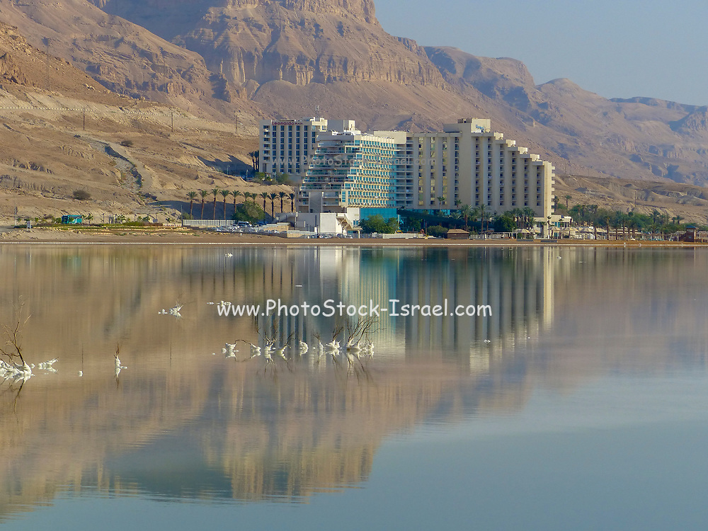 The Hotels, with reflections in the still and calm water of the Dead Sea, Ein Bokek, Israel as seen from south