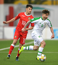 Gibraltar's Anthony Hernandez (left) and Republic of Ireland's Sean Maguire (right) battle for the ball during the UEFA Euro 2020 Qualifying, Group D match at the Victoria Stadium, Gibraltar.