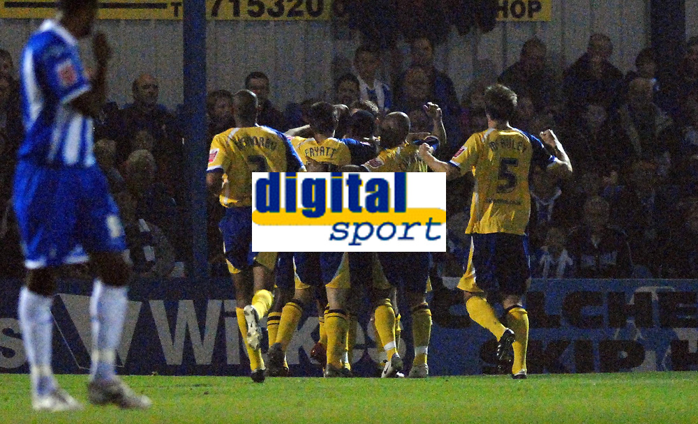Photo: Ashley Pickering/Sportsbeat Images.<br /> Colchester United v Leicester City. Coca Cola Championship. 03/11/2007.<br /> Leicester celebrate Collins John's opener