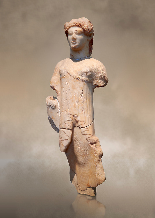 Marble Ancient Archaic Greek statuette of a Kore, from Aleusis, C. 490-480 BC, Athens National Archaeological Museum. Cat No 24 .<br /> <br /> If you prefer to buy from our ALAMY STOCK LIBRARY page at https://www.alamy.com/portfolio/paul-williams-funkystock/greco-roman-sculptures.html . Type -    Athens    - into LOWER SEARCH WITHIN GALLERY box - Refine search by adding a subject, place, background colour, etc.<br /> <br /> Visit our ROMAN WORLD PHOTO COLLECTIONS for more photos to download or buy as wall art prints https://funkystock.photoshelter.com/gallery-collection/The-Romans-Art-Artefacts-Antiquities-Historic-Sites-Pictures-Images/C0000r2uLJJo9_s0