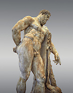 End of 2nd century beginning of 3rd century AD Roman marble sculpture of Hercules at rest copied from the second half of the 4th century BC Hellanistic Greek original,  inv 6001, Farnese Collection, Museum of Archaeology, Italy, grey background ..<br /> <br /> If you prefer to buy from our ALAMY STOCK LIBRARY page at https://www.alamy.com/portfolio/paul-williams-funkystock/greco-roman-sculptures.html . Type -    Naples    - into LOWER SEARCH WITHIN GALLERY box - Refine search by adding a subject, place, background colour, etc.<br /> <br /> Visit our ROMAN WORLD PHOTO COLLECTIONS for more photos to download or buy as wall art prints https://funkystock.photoshelter.com/gallery-collection/The-Romans-Art-Artefacts-Antiquities-Historic-Sites-Pictures-Images/C0000r2uLJJo9_s0