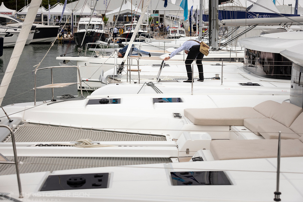 Lagoons alongside Beneteaus at the Southampton International Boat Show.<br /> Shot for Ancasta International.<br /> Picture date: Friday September 10, 2021.<br /> Photograph by Christopher Ison ©<br /> 07544044177<br /> chris@christopherison.com<br /> www.christopherison.com<br /> <br /> IMPORTANT NOTE REGARDING IMAGE LICENCING FOR THIS PHOTOGRAPH: This image is supplied to the client under the terms previously agree. No sales are permitted unless expressly agreed in writing by the photographer.