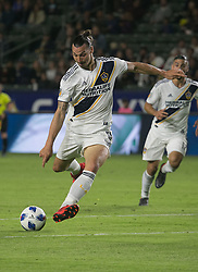 May 30, 2018 - Carson, California, U.S - Zlatan Ibrahimovic #9 of the LA Galaxy takes a shot into goal during their MLS game against FC Dallas on Wednesday, May 30, 2018 at the Stub Hub Center in Carson, California. LA Galaxy Lose to FC Dallas, 2-3. (Credit Image: © Prensa Internacional via ZUMA Wire)