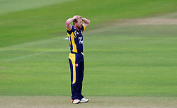 Dejection for Durham's Paul Collingwood - Photo mandatory by-line: Harry Trump/JMP - Mobile: 07966 386802 - 29/07/15 - SPORT - CRICKET - Somerset v Durham - Royal London One Day Cup - The County Ground, Taunton, England.