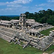 The Palace at Palenque Ruins. Palenque, Chiapas. Mexico.