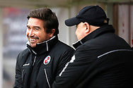 Crawley Town manager Harry Kewell and Grimsby Town manager / coach Russell Slade share a joke before kick off during the EFL Sky Bet League 2 match between Crawley Town and Grimsby Town FC at the Checkatrade.com Stadium, Crawley, England on 10 February 2018. Picture by Andy Walter.