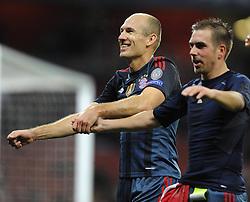 Bayern Munich's Arjen Robben celebrates with the Bayern fans after the game - Photo mandatory by-line: Joe Meredith/JMP - Tel: Mobile: 07966 386802 19/02/2014 - SPORT - FOOTBALL - London - Emirates Stadium - Arsenal v Bayern Munich - Champions League - Last 16 - First Leg