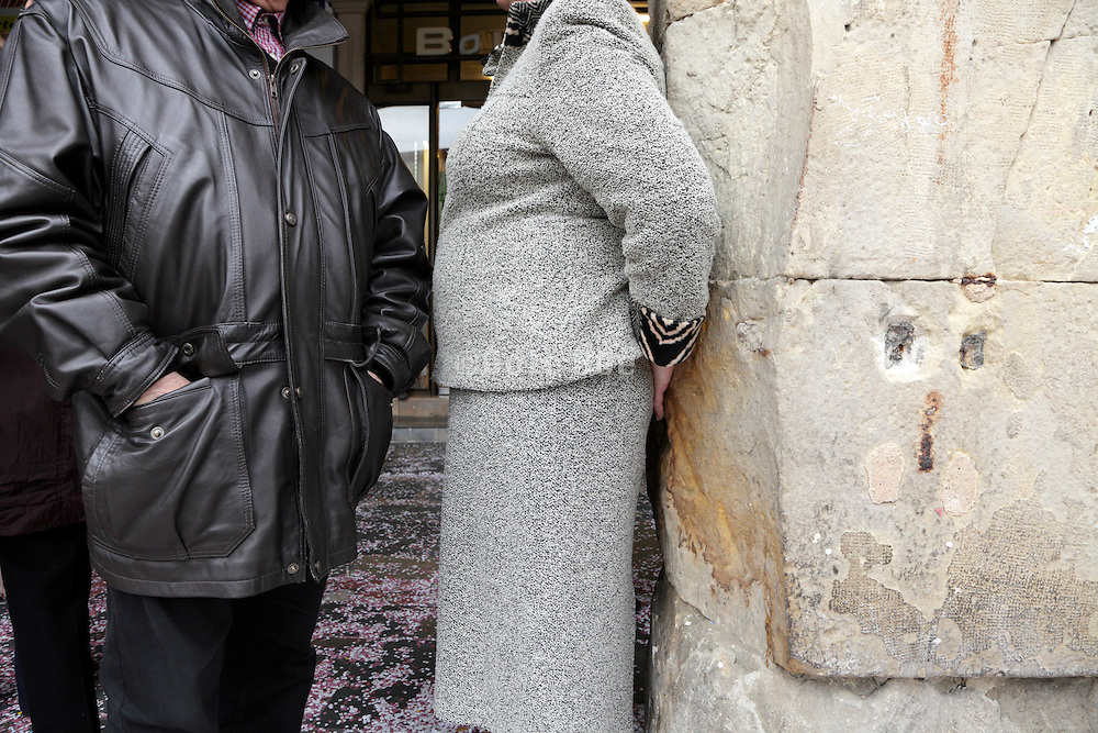 elderly couple standing and waiting carnival Limoux France