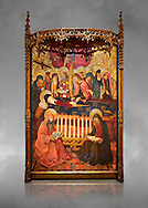 Gothic altarpiece of the Dormition of the Madonna (Dormicio de la Mare de Dieu) by Pere Garcia de Benavarri, circa 1460-1465, tempera and gold leaf on wood.  National Museum of Catalan Art, Barcelona, Spain, inv no: MNAC  64040. Against a grey art background.. .<br /> <br /> If you prefer you can also buy from our ALAMY PHOTO LIBRARY  Collection visit : https://www.alamy.com/portfolio/paul-williams-funkystock/gothic-art-antiquities.html  Type -     MANAC    - into the LOWER SEARCH WITHIN GALLERY box. Refine search by adding background colour, place, museum etc<br /> <br /> Visit our MEDIEVAL GOTHIC ART PHOTO COLLECTIONS for more   photos  to download or buy as prints https://funkystock.photoshelter.com/gallery-collection/Medieval-Gothic-Art-Antiquities-Historic-Sites-Pictures-Images-of/C0000gZ8POl_DCqE