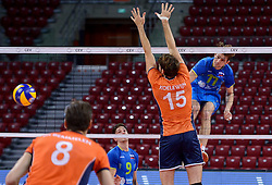 Danijel Koncilja, Dejan Vincic during volleyball match between National teams of Netherlands and Slovenia in Playoff of 2015 CEV Volleyball European Championship - Men, on October 13, 2015 in Arena Armeec, Sofia, Bulgaria. Photo by Ronald Hoogendoorn / Sportida