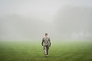 Cadet James Shields crosses Summerall Field in the fog during reconstitution for the South Carolina Corps of Cadets on Monday, January 13, 2020. <br /> <br /> Credit: Cameron Pollack / The Citadel