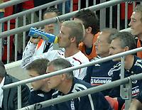 Photo: Richard Lane.<br />England v Brazil. International Friendly. 01/06/2007. <br />England's David Beckham sits on the bench.