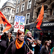 March 26 was the day of the March for the Alternative, an anti-cut demonstration organised by the TUC, which drew 3-500.000 people from all over Britain. Along side and after various groups, some Black Bloc, some from UK Uncut and other independent groups staged their own protests around Central London. Here a group from Globalise Risistant marches down Oxfort Street.