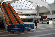 Grand Central Station in Birmingham city centre is virtually deserted due to the Coronavirus outbreak on 31st March 2020 in Birmingham, England, United Kingdom. Following government advice most people are staying at home leaving the streets quiet, empty and eerie. Coronavirus or Covid-19 is a new respiratory illness that has not previously been seen in humans. While much or Europe has been placed into lockdown, the UK government has announced more stringent rules as part of their long term strategy, and in particular social distancing.