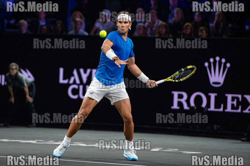 GENEVA, SWITZERLAND - SEPTEMBER 21: Rafael Nadal of Team Europe plays a forehand during Day 2 of the Laver Cup 2019 at Palexpo on September 21, 2019 in Geneva, Switzerland. The Laver Cup will see six players from the rest of the World competing against their counterparts from Europe. Team World is captained by John McEnroe and Team Europe is captained by Bjorn Borg. The tournament runs from September 20-22. (Photo by Monika Majer/RvS.Media)