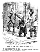 "The Dance That Didn't Come Off. Mr Ramsay MacDonald. ""Must you go?"" The Bolshie Bear-leader. ""Yes, we must. He doesn't feel like dancing to your tune, and you won't pay for any other."" (cartoon showing a crying Russian Bear with Put The Loan In Here and his master leaving 10 Downing Street after failing to secure a loan from Britain during the InterWar era)"