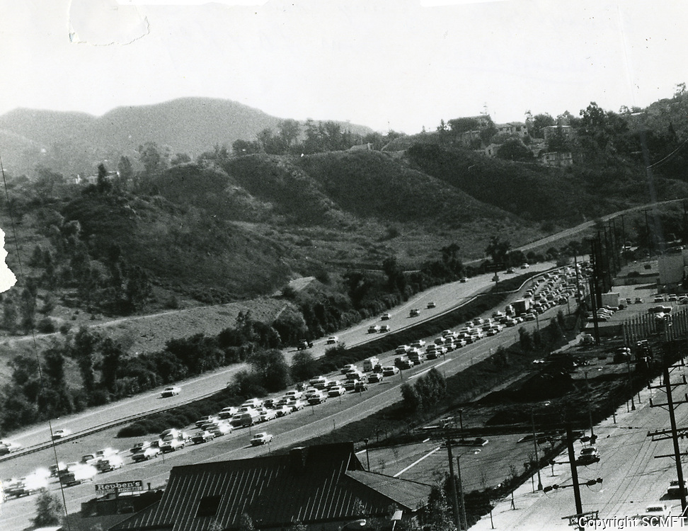 1967 Traffic on the 101 Hollywood Freeway in the Cahuenga Pass